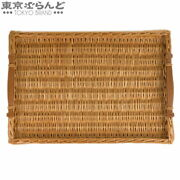 Hermes Ozure Tray Rattan X Leather Natural Engraved Kitchen Goods With Handle