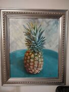Original Oil Painting On Canvas Pineapple On A Platter Art By Ethan Warner