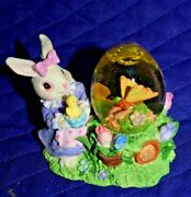 Estate Lot T6 Easter Resin 3-1/2 Snow Globe Bunny Holding Chick Butterfly Look