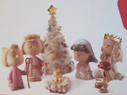Lenox--peanuts---the Christmas Pageant--7-pc Figurine Set----new In Box With Coa