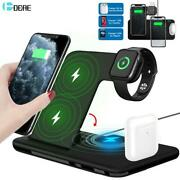 15w Qi Fast Wireless 4 In 1 Charger Stand For Iphone 11 12 X 8 Watch Air Pods