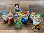 Vgc Disney Snow White And The Seven Dwarfs Ceramic Figurines Made In Japan