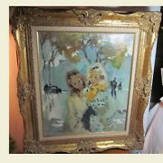 Original Pierre Grisot Oil Painting Girls French Post Impressionist 1911-1995