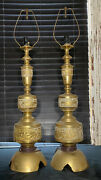 1950and039s Large James Mont Style Brass Lamps- A Pair