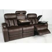 Seatcraft Orleans Home Theater Seating Sofa With Dropdown Console Leather Gel