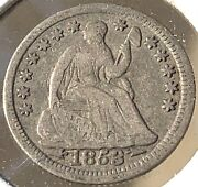 1853 Philadelphia Mint Silver Seated Liberty Half Dime With Arrows 044