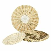 Wall Decorative Handmade Woven Straw Round Plate Seaweed Tray Hanging Ornaments