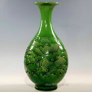10.2chinese Antiques Song Dingyao Green Glaze Floral Pattern Yuhu Spring Bottle