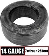14 Gauge 7 Way Conductor Rv Trailer Wire Cable Wiring Insulated - 25 Feet 14/7