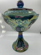 Indiana Carnival Glass Iridescent Gold Blue/purple Harvest Grape Compote W/ Lid