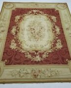 Vintage Handmade French Floral Design Red Beige Wool Aubusson Rug 295x239cm