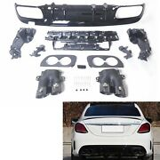 Rear Diffuser And Exhaust Tips Cover Trim For Benz C Class C43 2015-20 2018 4-door