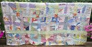 Colorful Vintage Country Farmhouse Feedsack Cutter Quilt Hand Pieced And Quilted