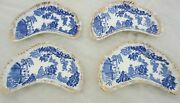 Flow Blue Willow Bone Plates Dishes Gold Trim China Set Of 4