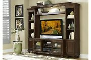 Brown Wood Tv Stand Console Storage Display Cabinets Entertainment Center