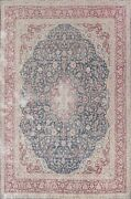 Vintage Muted Kirman Evenly Low Pile Hand-knotted Area Rug Floral Oriental 10x13