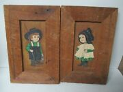 2 Unusual Original Dolores Hackenberger Paintings W Frame - Amish Boy And Girl