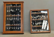 60 Vintage Collectible Souvenir Spoons In Two Wooden Wall Decorative Cases Lot