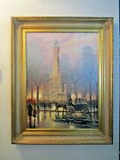 Thomas Kinkade Chicago Winter At The Water Tower Re Edition 5/160 Canvas 25.5x34
