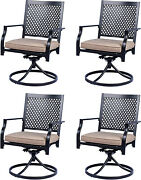Metal Patio Chair Set Of 4 With Cushion Swivel Dining Chairs Outdoor Furniture