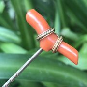 Antique Victorian 15k 15ct Gold Coral Branch Stick Pin Tie Hat Lapel Brooch 1880