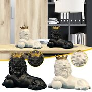 Lion With Crown Statue Majestic Jungle King Ornament Resin Home Sculpture 25cm