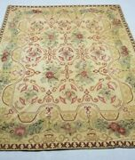 Vintage Handmade French Floral Design Multicolor Wool Aubusson Rug 302x231cm
