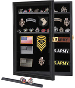 Military Challenge Coin Medals Pins Collector Display Case Pinnable Black