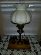 Unique Vintage Patriotic Figural Eagle And Cannon Table Lamp Wood And Cast Pen Hold