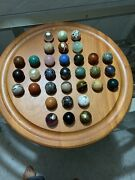 Vintage 1994 Bombay Company Solitaire Marble 15.5 Board Game Wood 33 Marbles