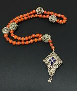 Antique 5 Decade Rosary Red Coral Bead Silver Enamel Filigree Beads Crucifix