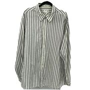 Bke Menand039s White And Gray Striped Textured Long Sleeve Button Up Shirt Size 2xl