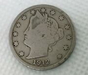 Very Old Antique 1912 Us Liberty Head V Nickel Coin Collectible Usa 5 Cent Money