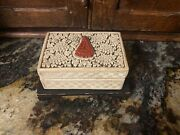 Antique Vintage Chinese Carved White And Red Cinnabar Jewelry Box W/ Wooden Base