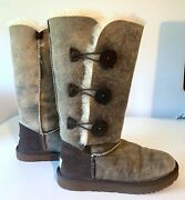 Ugg® Bailey Nubuck Leather Button Triplet Ii Water-repellent Boots Size 7