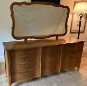 Vintage Dixie Brand Dresser 12 Drawer French Provincial Style Matching Mirror