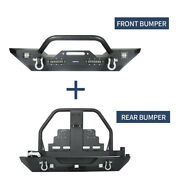 Front And Rear Bumper W/oil Drum Rack Bar Tire Carrier For Jeep Wrangler 07-18 Jk