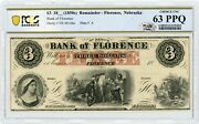1800and039s 3 The Bank Of Florence Nebraska Note - Pcgs Banknote Ch.cu 63 Ppq