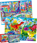 100 Pieces Floor Puzzles For Kids Ages 4-8 – 2 Jigsaw Toddler 3-5...