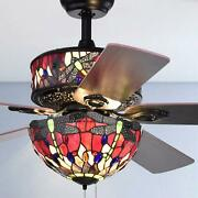 Style Stained Glass Jeweled Dragonfly 6-light 5-blade 52-in Ceiling Fan