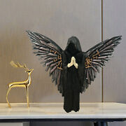 Person In Black Statue Portrait Sculpture With Wing Blessing Weatherproof Office