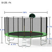 16ft Trampoline With Safety Enclosure Net Basketball Hoop For Kids And Adults