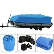 21-24ft 600d Oxford Fabric Waterproof Boat Cover With Storage Bag Blue Us Seller