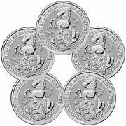 Lot Of 5 2018 Britain 2 Oz Silver Queenand039s Beasts Unicorn Of Scotland