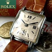 Rolex 1950s Silver 25mm Square Mechanical Winding Wristwatch Overhauled Japan