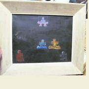Original Unknown Oil Painting Jigsaw People On Canvas From Estate Mid Century