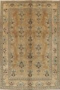Vintage Muted Geometric Kashmar Evenly Low Pile Wool Hand-knotted Area Rug 7x10