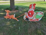 Santa In Sleigh W/toys And 1 Reindeer Lighted Empire Blow Mold Vintage
