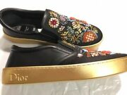 Christian Dior Embroidery Slip-on Shoes Authentic Brand New W/box Rare Design
