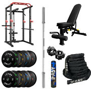 Ifast Power Cage And Weight Bench And 340lbs Weight Barbell Plates And 7ft Bar Set